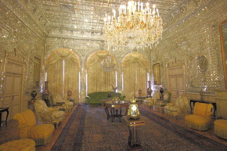 Interior of illuminated temple building