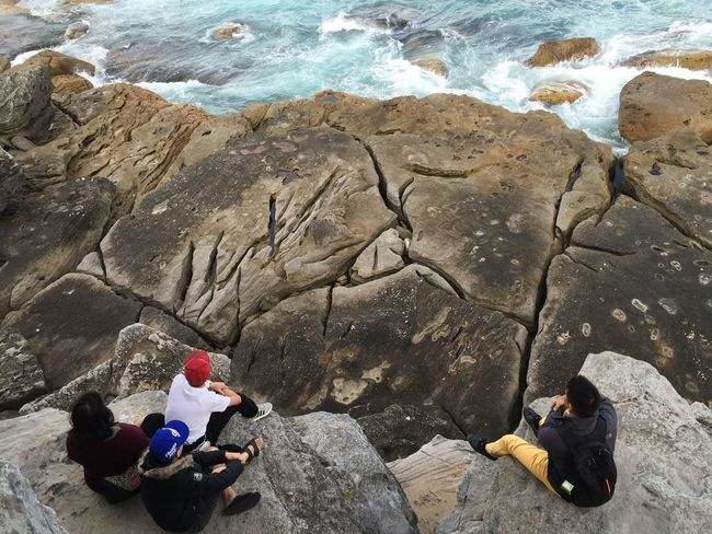 captured by the view Rock - Object Day Full Length Women Togetherness High Angle View Outdoors Leisure Activity Sitting Adults Only Nature