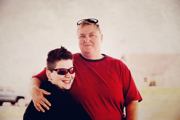 Me and my wife. I am in red. Lgbt Family Lesbian Couple Queer Women Gender Canon Canon 5D Mark II Color Confidence  Couple Gay Happiness Lesbian Lgbt Lifestyles Love Married Mature Adult Mid Adult Person Portrait Red Smiling Together Utah Wife Women