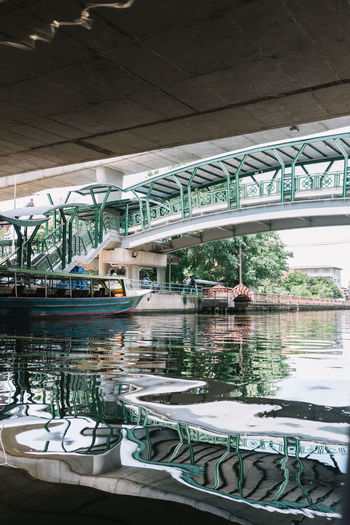A pier under the bridge in Bangkok, Thailand Alternative Transportation Architecture Asian Culture Bangkok Boat Bridge - Man Made Structure Built Structure Capital City City Life Connection Developing Country Local Pier Reflection River Rural Southeast Asia Thailand Transportation Under The Bridge Urban Urban Life Style Way Of Life