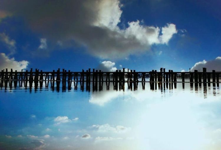 Blue Sky Clouds And Sky Bridge Japan Reflection