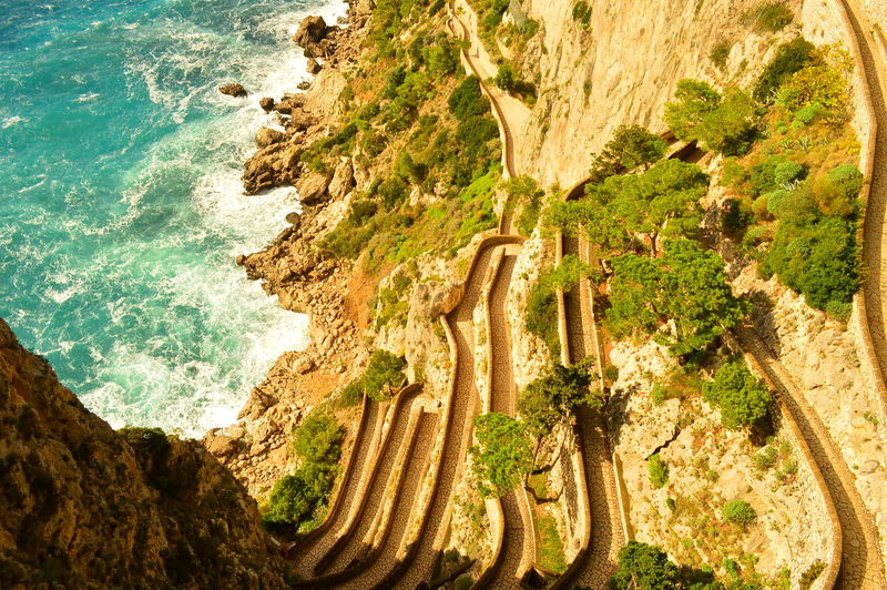 Directly Above Shot Of Via Krupp At Capri During Sunny Day