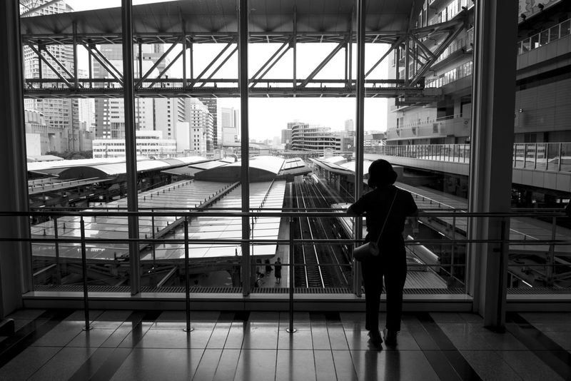 Black And White City EyeEm Best Shots EyeEm Black&white! Full Length Glass - Material Indoors  Japan Osaka Station Rear View Silhouette Station Transparent Traveling Ultimate Japan
