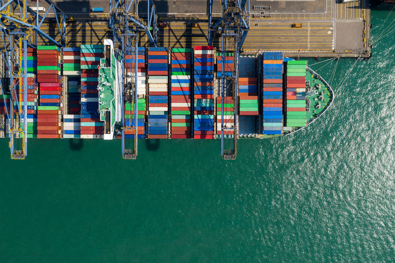 Aerial view of cargo container at harbor
