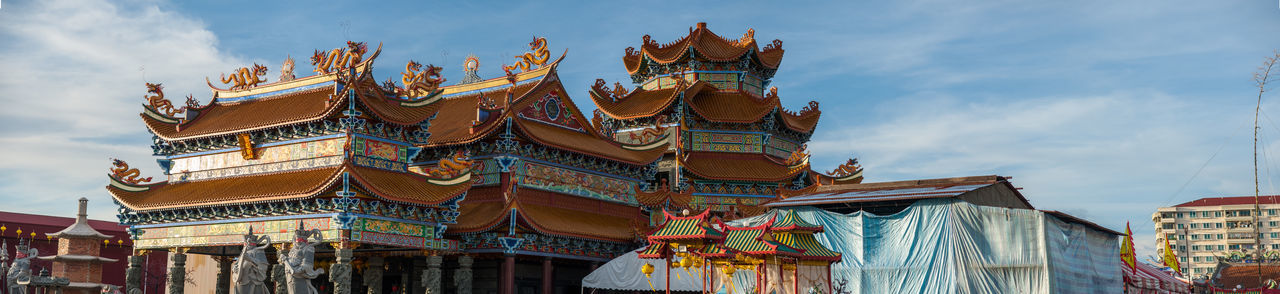 Penang Nine Emperor God Temple Architecture Building Exterior Built Structure Cloud - Sky Building Sky Religion Travel Destinations Place Of Worship Nature Belief The Past No People City Day Spirituality History Low Angle View Outdoors Ornate