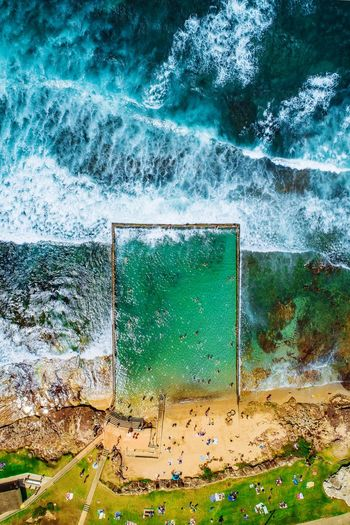 Shelly Beach Pool II Available as Fine Art Print on www.kess.gallery #theshire #shirelife #sutherlandshire #cronulla #cronullabeach #beach #seascape #beachscape #nulla #drone #drones #droneoftheday #droneporn #droneglobe #fromwhereidrone #dronesdaily #dronegear #dronesetc #dronelife #dronesaregood #aerialphotography #dronestagram #dronesarefun #dronepics #dronephoto #dji #djiphantom #phantom4pro #iamdji #focusaustralia No People Day Water Full Frame Green Color Nature Backgrounds