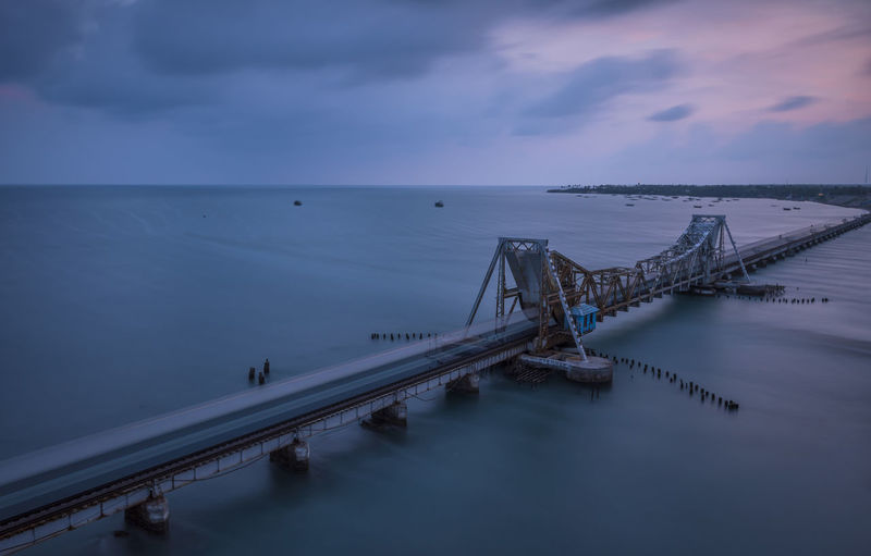 High angle view of pamban bridge over sea