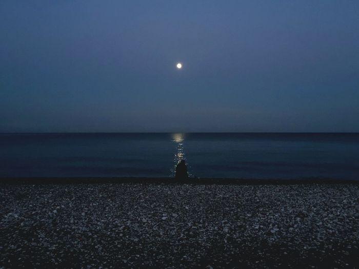 Sea Beach Moon Night Moonlight Fisherman Open Edit