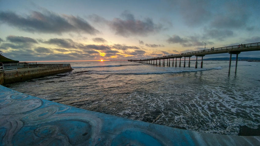 Ocean Beach San Diego Sunset Architecture Beauty In Nature Bridge Bridge - Man Made Structure Built Structure Cloud - Sky Connection Horizon Horizon Over Water Idyllic Nature No People Outdoors Pier Scenics - Nature Sea Sky Sunset Tranquil Scene Water