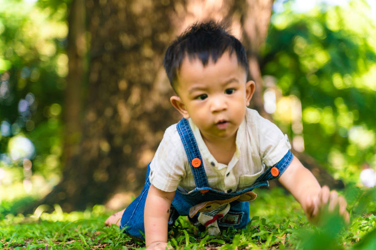 Cute boy playing in park