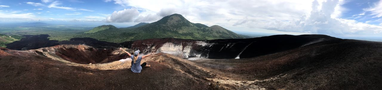 Nicaragua Cerro Negro Volcano Crater Volcano Crater Volcano Landscape Volcanoes National Park Nature Mountain Cloud - Sky Panorama Panoramic Photography Nature Beauty In Nature Scenics Tranquil Scene Landscape Mountain Range Tranquility