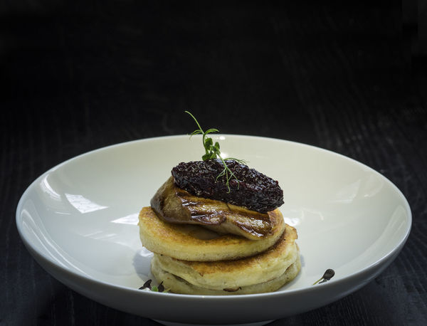 Pancakes with fried foie gras and onion marmalade Black Background Close-up Foie Gras Food Freshness Fried Gourmet Indoors  Marmalade Meal No People Onion Pancake Plate Ready-to-eat Table Temptation