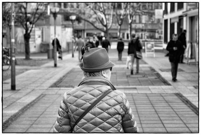 her territory Frankfurt Am Main Architecture Blackandwhite City Day Focus On Foreground Lawoe Outdoors Real People Rear View Streetphotography Women