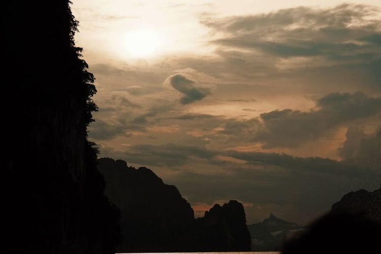 Beauty In Nature Cloud - Sky Environment Formation Idyllic Mountain Nature No People Non-urban Scene Outdoors Plant Rock Scenics - Nature Silhouette Sky Sun Sunlight Sunset Tranquil Scene Tranquility Tree