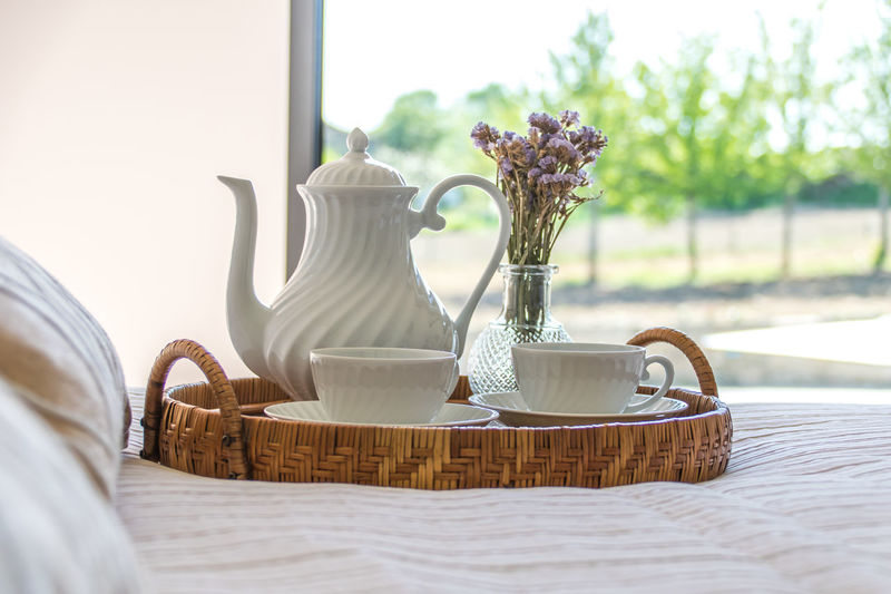 Coffee in the hotel. Basket Close-up Day Drink Flower Flower Head Freshness Indoors  No People Table Teapot Vase