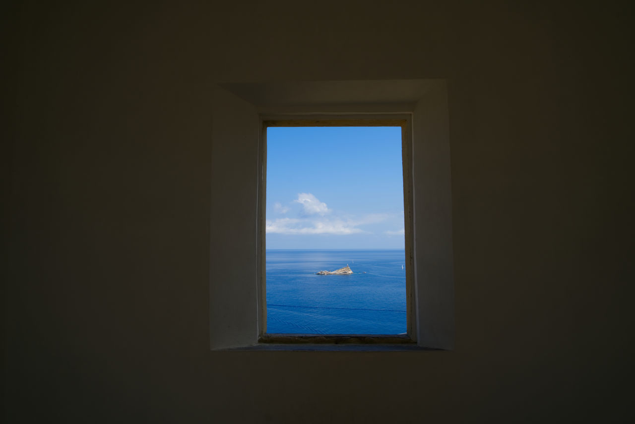 Elba Island  Tuscany View From The Window... Beauty In Nature Blue Close-up Day Elba Indoors  Italy Nature No People Picture Portoferraio Scenics Scoglietto Sea Sky Tranquility View From Above Water Window