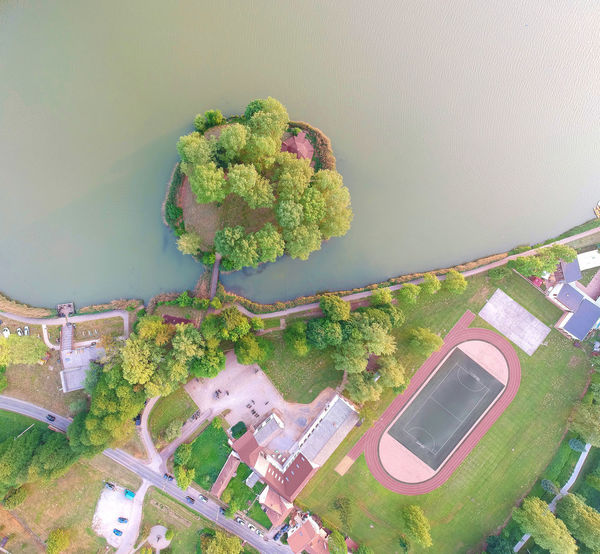 Aerial top view of lake Orfu, at Baranya, Hungary. Hungary Aerial View Island Lake Lake View Lakeside Orfű Top Perspective Top View