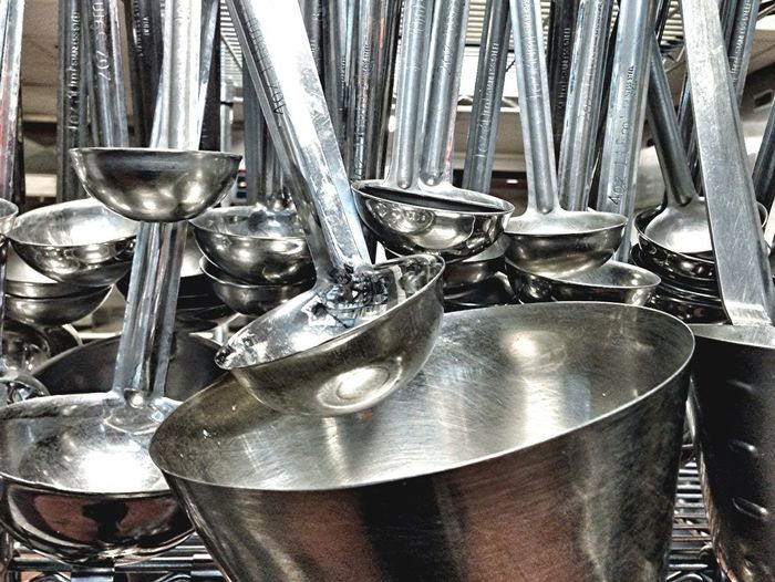 Love shiny things. Even pots and ladles.
