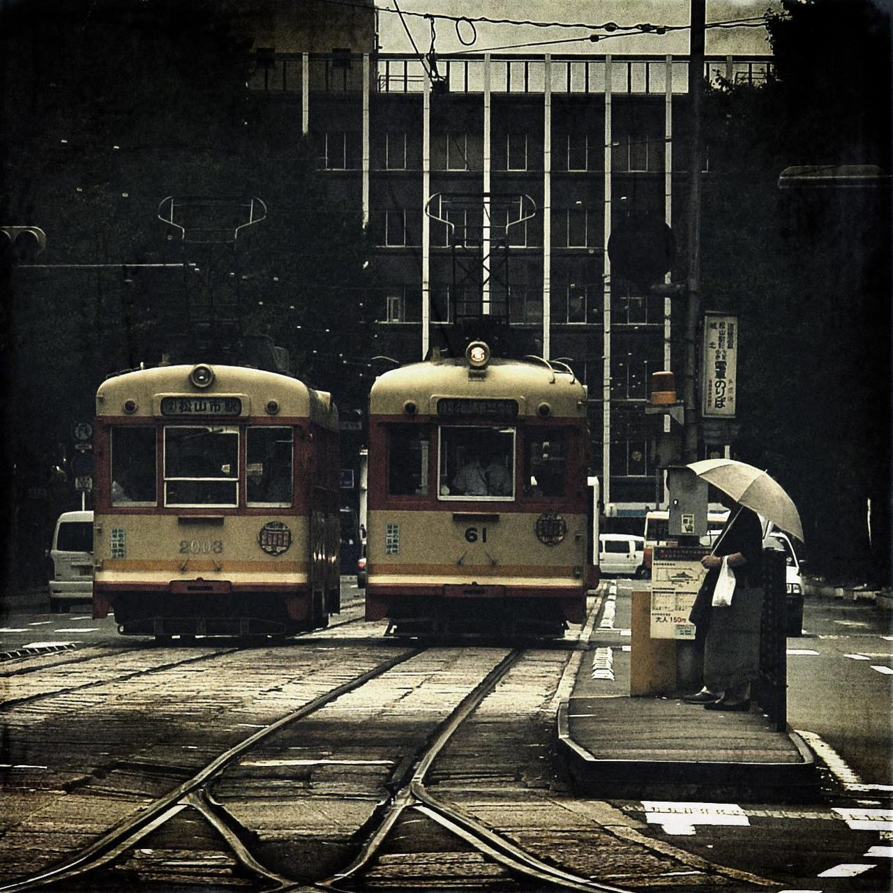 Old-Fashioned Trams On City Street