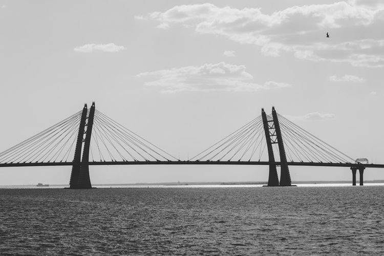 Bridge Sky Water Bridge - Man Made Structure Connection Engineering Built Structure Transportation Architecture Suspension Bridge Waterfront Sea Cloud - Sky Nature Cable-stayed Bridge Day Travel Long