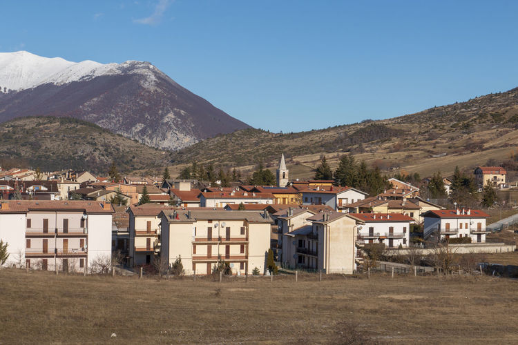 Abruzzo Majella Majella Mountain Abruzzo - Italy Architecture Beauty In Nature Building Building Exterior Built Structure Campo Di Giove Clear Sky Day Environment House Land Landscape Mountain Mountain Peak Mountain Range Nature No People Outdoors Residential District Scenics - Nature Sky Tree