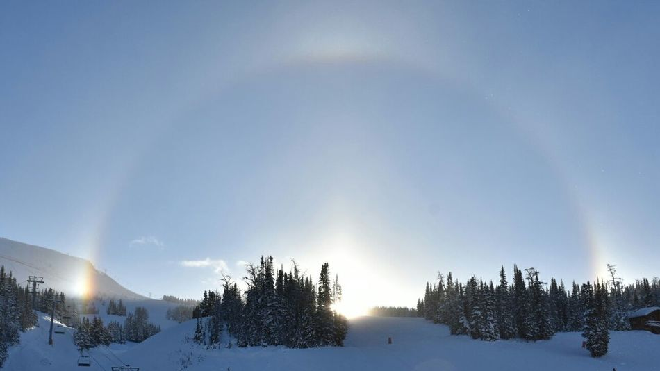 Sundog Sundogs Sun_collection Sun Light Sunlight And Shadow Refractedlight Icecrystals Beauty In Nature Tranquility Nature Sky Outdoors Cold Temperature Winter