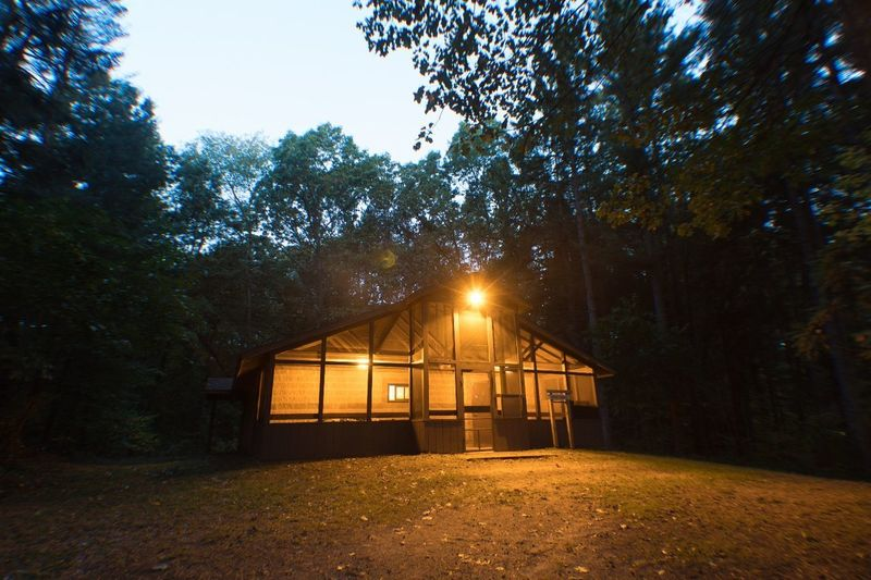 Lost In The Landscape Hut No People Tree Illuminated Built Structure Outdoors Architecture Day a weekend in Michigan.