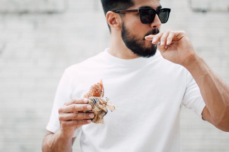 Guy eating