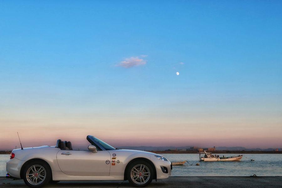 筑後川 川 空 海 漁船 月 月見 マツダ ロードスター NC Na Nb  Nd Mazda Roadster MX-5 Mx5 Miata Miata Riverside Seaside Car Horizon Over Water Transportation Silhouette Water