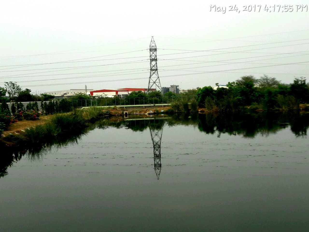 reflection, cable, water, power line, no people, electricity pylon, day, tree, outdoors, nature, sky