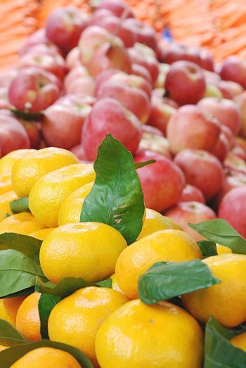 Tangerine Fruits Apple Apples Carrots Leaf Green Orange Color Grocery Market Fruit Yellow Orange