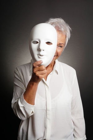 Adult Age Disguise Grey Hair Happy Hide Laughing Mask Mature Older  Peek People Person Playful Senior Short Hair Smiling Studio Theater White Hair Woman Women