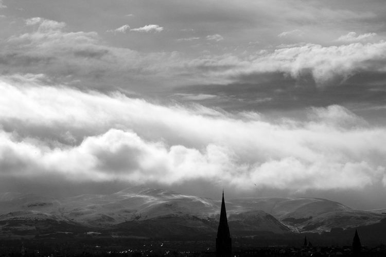 Pentland Hills Pentland Hills Architecture Beauty In Nature Blackandwhite Built Structure City Cloud - Sky Day Mountain Mountain Range Nature No People Outdoors Scenics Sky Travel Destinations Weather