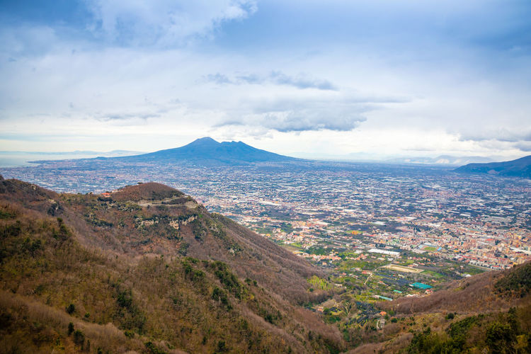 Pompeii  Italy Vesuvio Volcano Panorama Landscape City Mountain Nature Cloud - Sky Sky Environment Scenics - Nature Beauty In Nature No People Tranquil Scene Tranquility Day Land Outdoors Tree Mountain Range Non-urban Scene Plant High Angle View Aerial View