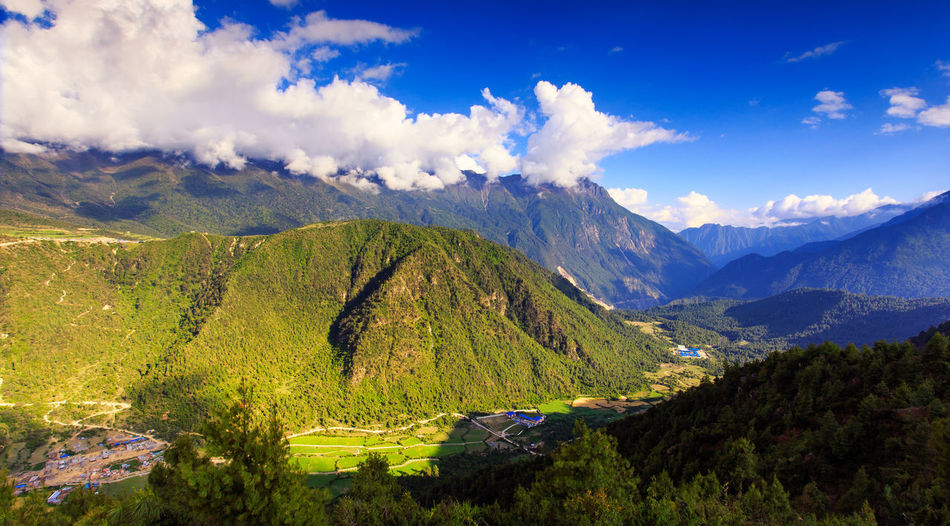 Mountain Valley BackGround, Tibet, China Beauty In Nature Blue Cloud - Sky Forest Landscape Mountain Mountain Peak Mountain Range Nature No People Outdoors Pass Pinaceae Pine Woodland Scenics Sky Summer Sunny Top View Tourism Tranquil Scene Travel Destinations Tree Valley Wallpaper