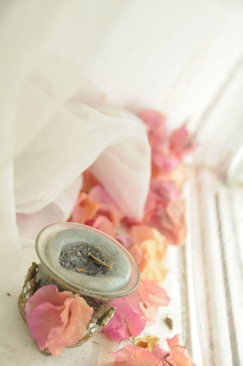 High Angle View Romantic Dry Flower  Candle Pink Color Window Curtain Perfume Close-up Pastel Colored