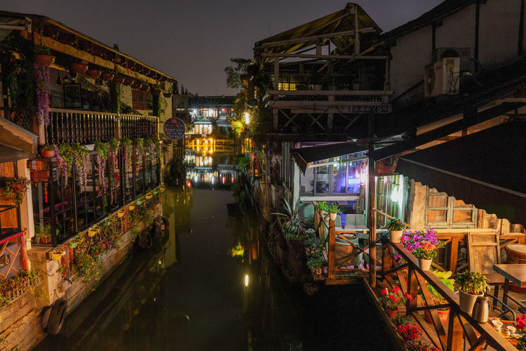 Illuminated Night Building Exterior Architecture Built Structure City Market Building No People Lighting Equipment Retail  Street Canal Outdoors Transportation Shopping Street Market Zhujiajiao Water Village Ancient Village Cafe Recreation  Water River