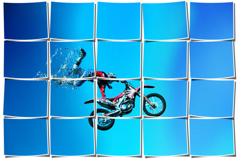Digital composite image of bicycle against blue sky