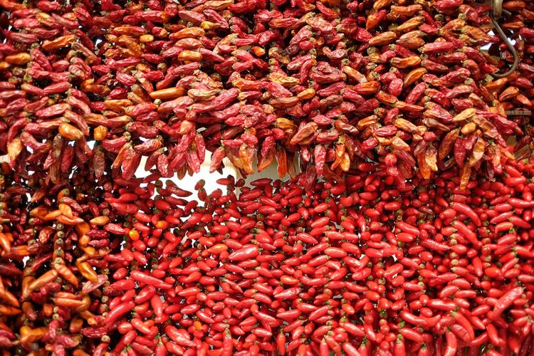 Full frame shot of dried red chili peppers