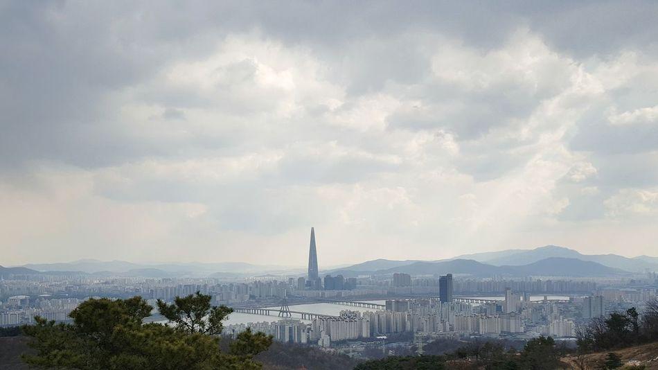 No People Outdoors Sky Rain Rainy Day Landscape Cityscape Cloud - Sky Han River, Seoul Lotteworld Tower