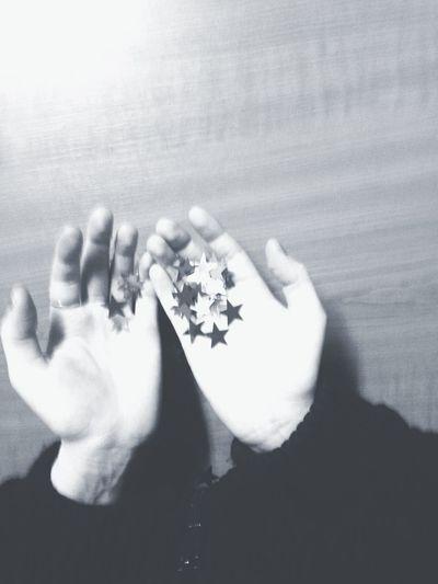 Blackandwhite Monochrome Stars Hand