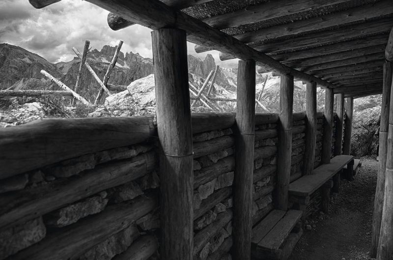 Reconstructed WW1 gun position, Cinque Torri, Italian Dolomites Black And White Bunker Dolomites Fortification Gun Position Historic Italy Memorial Monochrome Monument Mountains Museum Trench Underground Wooden World War 1