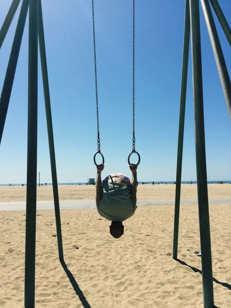 EyeEm Selects Swing Hanging Sand Childhood Playground Rope Swing Day Outdoors Beach Sea Real People One Person Nature Outdoor Play Equipment Sky California Muscle Strong Summer