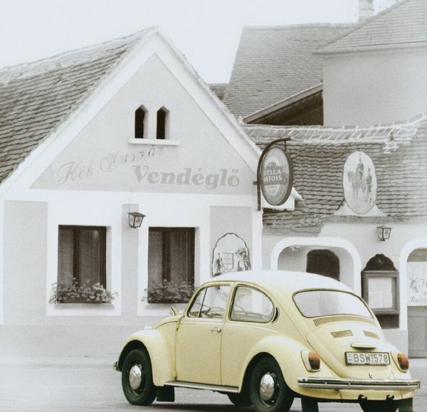one more yellow beetle ... Transportation Mode Of Transport Car Built Structure In Front Of VW Käfer VW Beetle VW Beetle Oldtimer Vintage Color Key Yellow Beetle Hungary The Drive