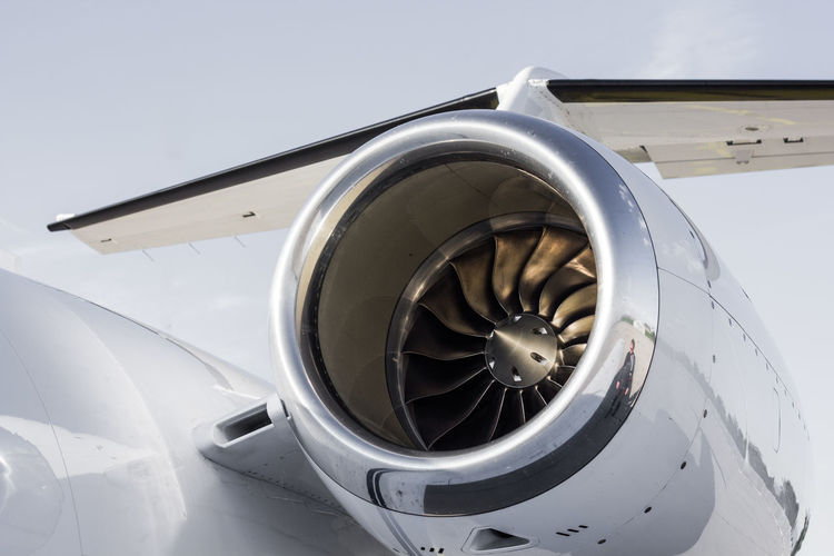 Close-Up Of Aircraft Jet Engine