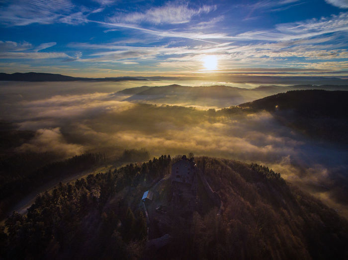 Aerial View Beauty In Nature Cloud - Sky Day Drone  Landscape Mountain Nature No People Outdoors Scenics Sky Sunlight Sunset Tranquil Scene Tranquility