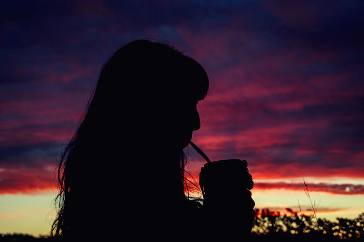 Woman drinking mate Sunset Sky One Person Cloud - Sky Silhouette Leisure Activity Lifestyles Orange Color Women Beauty In Nature Silhouette Silhouettes Silhouette_collection Mujer Mate Argentino Mate Atardecer Argentina Argentina Photography Uruguay Buenos Aires Buenosaires Real Life Sunset Silhouettes Sunset_collection International Women's Day 2019