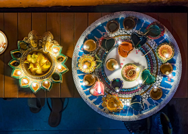 Candles Divali Celebration Night Photography Celebration Close-up Cultural Culture Decoration Festive Floral Pattern High Angle View Multi Colored No People Plate Table