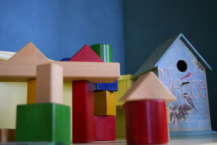 Close-up of toys against blue toy