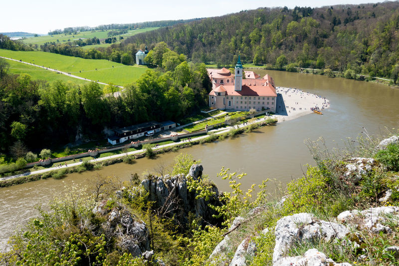 View from a rock down to monastery ofWeltenburg. Architecture Ausflug  Ausflugsziel Bavaria Bayern Beauty In Nature Building Exterior Built Structure Day Donau Germany Monastery Monastery Of Weltenburg Nature No People Outdoors Reise River Sky Travel Tree Wanderlust Water Weltenburg Weltenburger Höhenweg